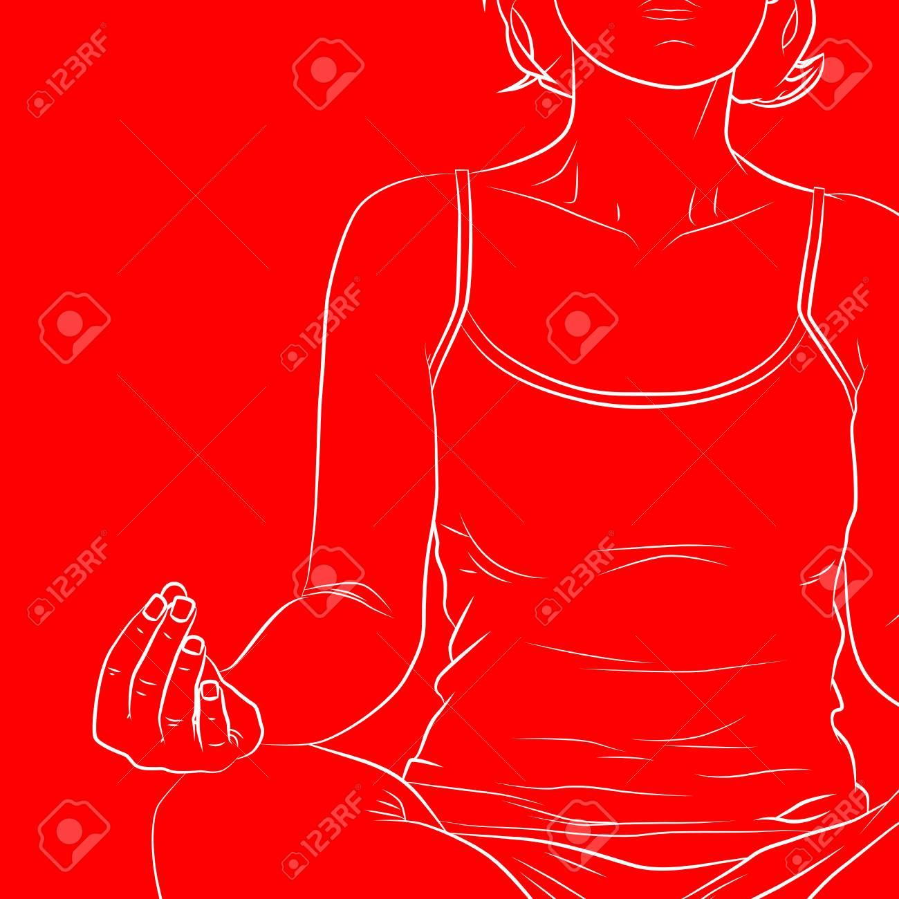 Yoga concept. Comic book style vector line art of a woman doing yoga, meditating. - 110775977