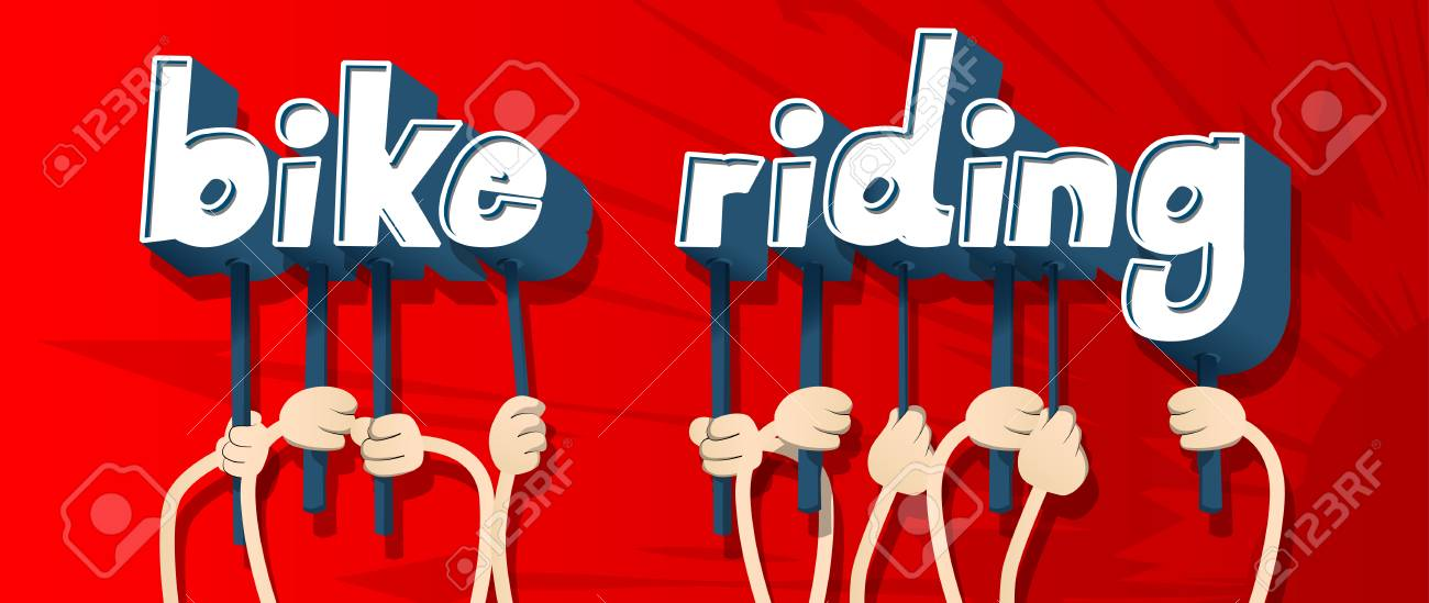 Diverse hands holding letters of the alphabet created the word Bike Riding. Vector illustration. - 112771791