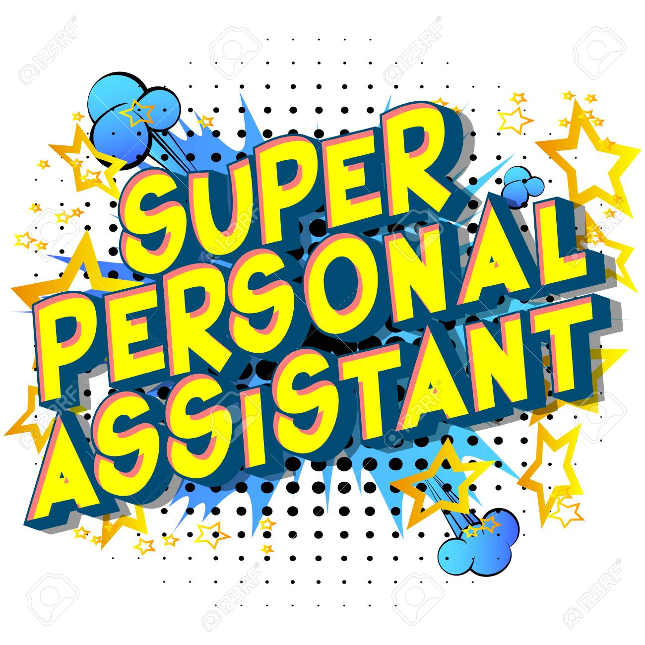 Super Personal Assistant - Vector illustrated comic book style