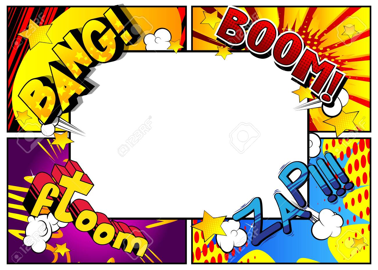 Vector pop-art style comic book page template background with explosions, halftone effects and rays. - 148806759