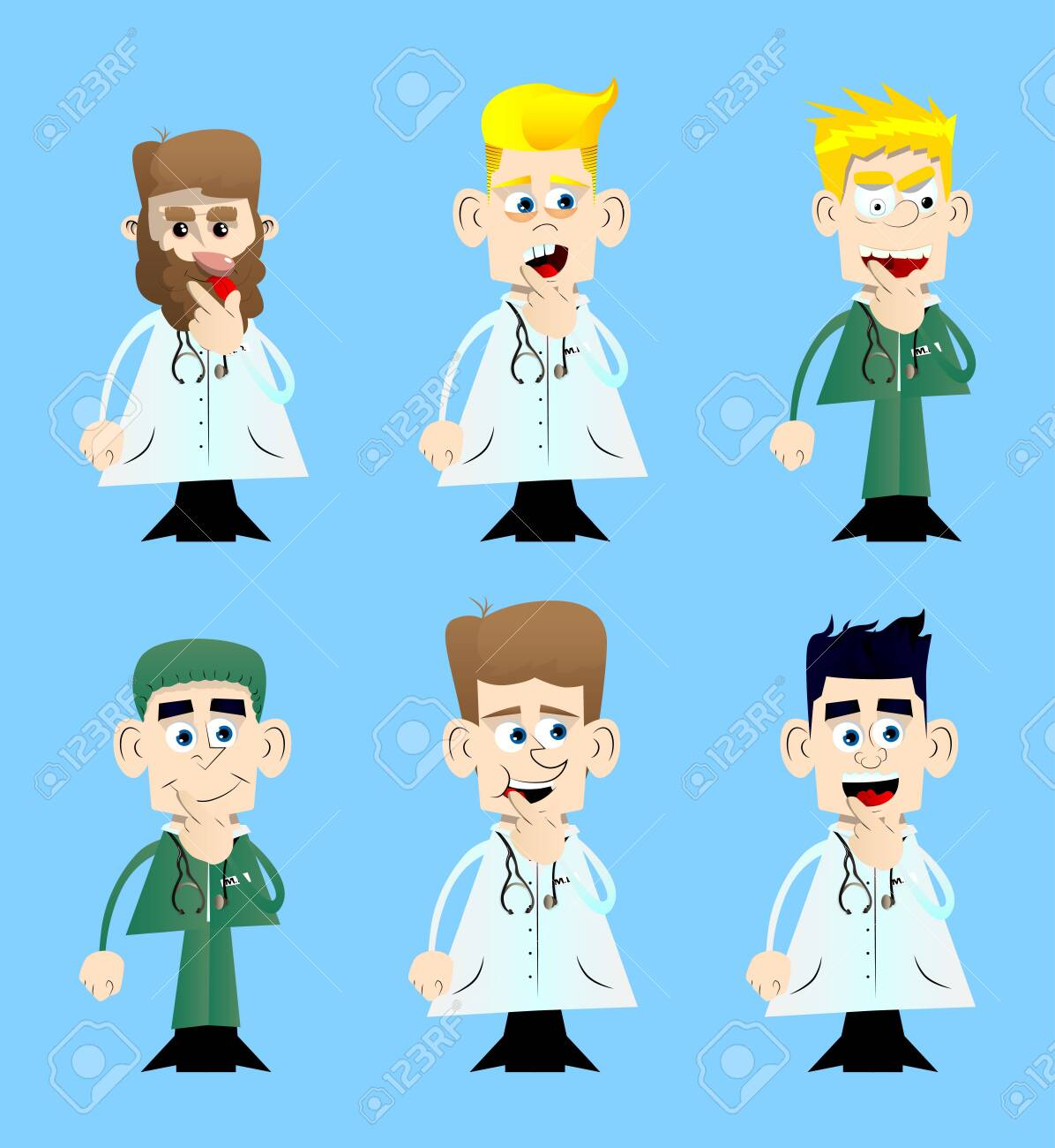 Funny cartoon doctor holding finger front of his mouth. Vector illustration. - 157235037