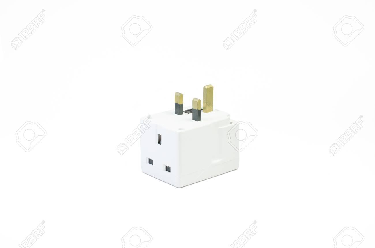 Three Way Electric Socket Isolated On White Background Stock Photo ...