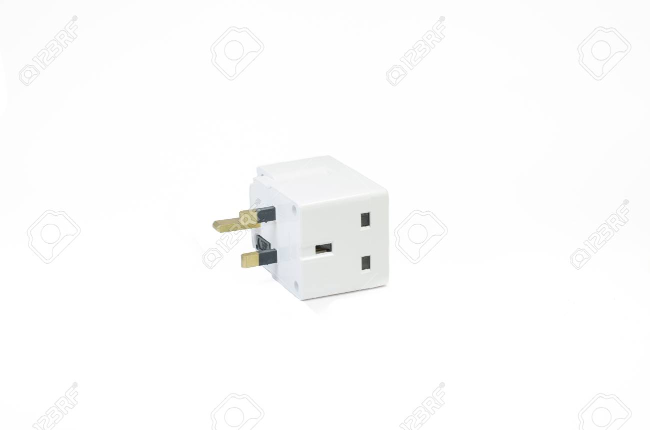 Three Way Electric Socket Isolated On White Background Stock Photo ...