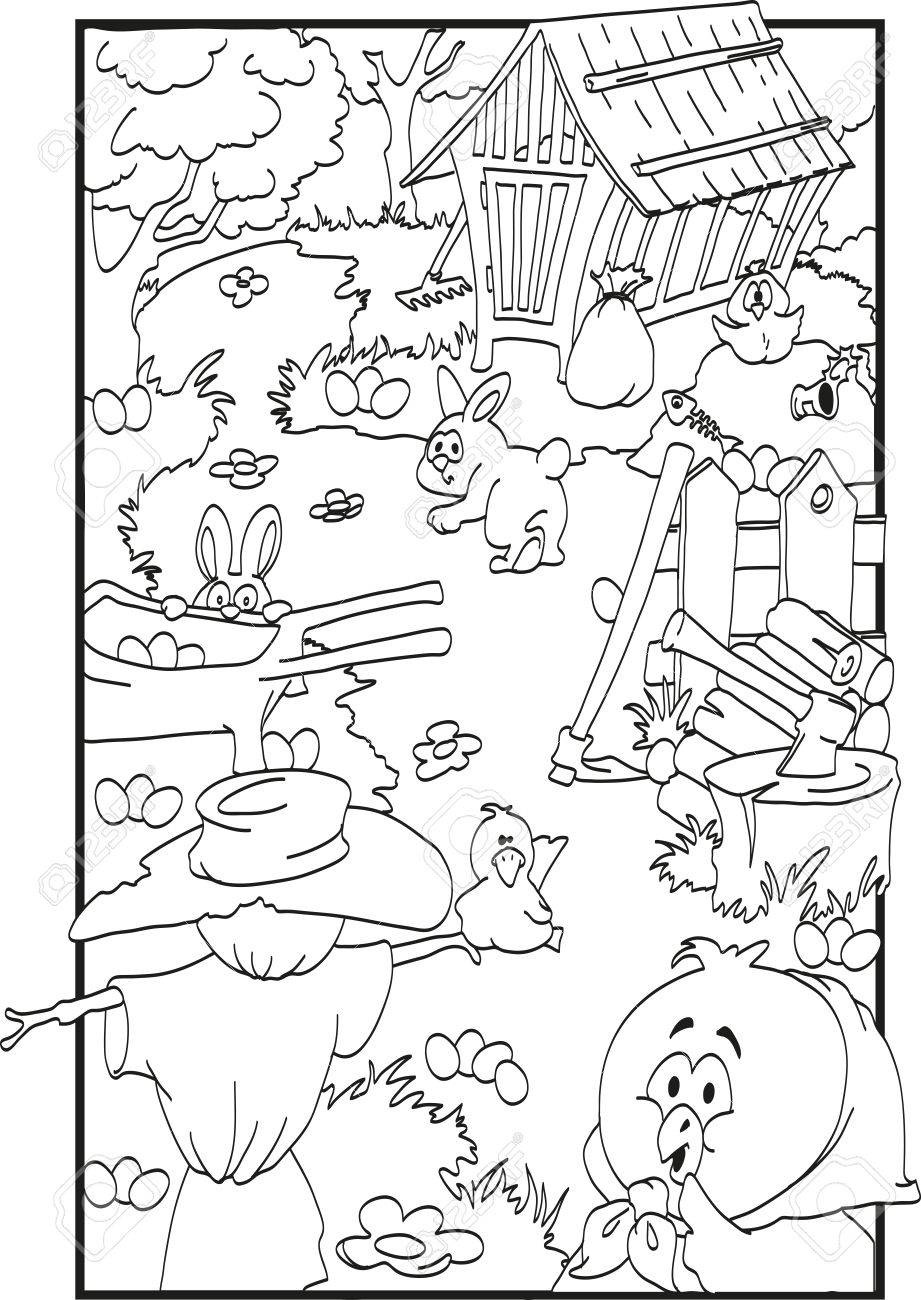 Easter Coloring With Farm Animals And Many Eggs Royalty Free ...