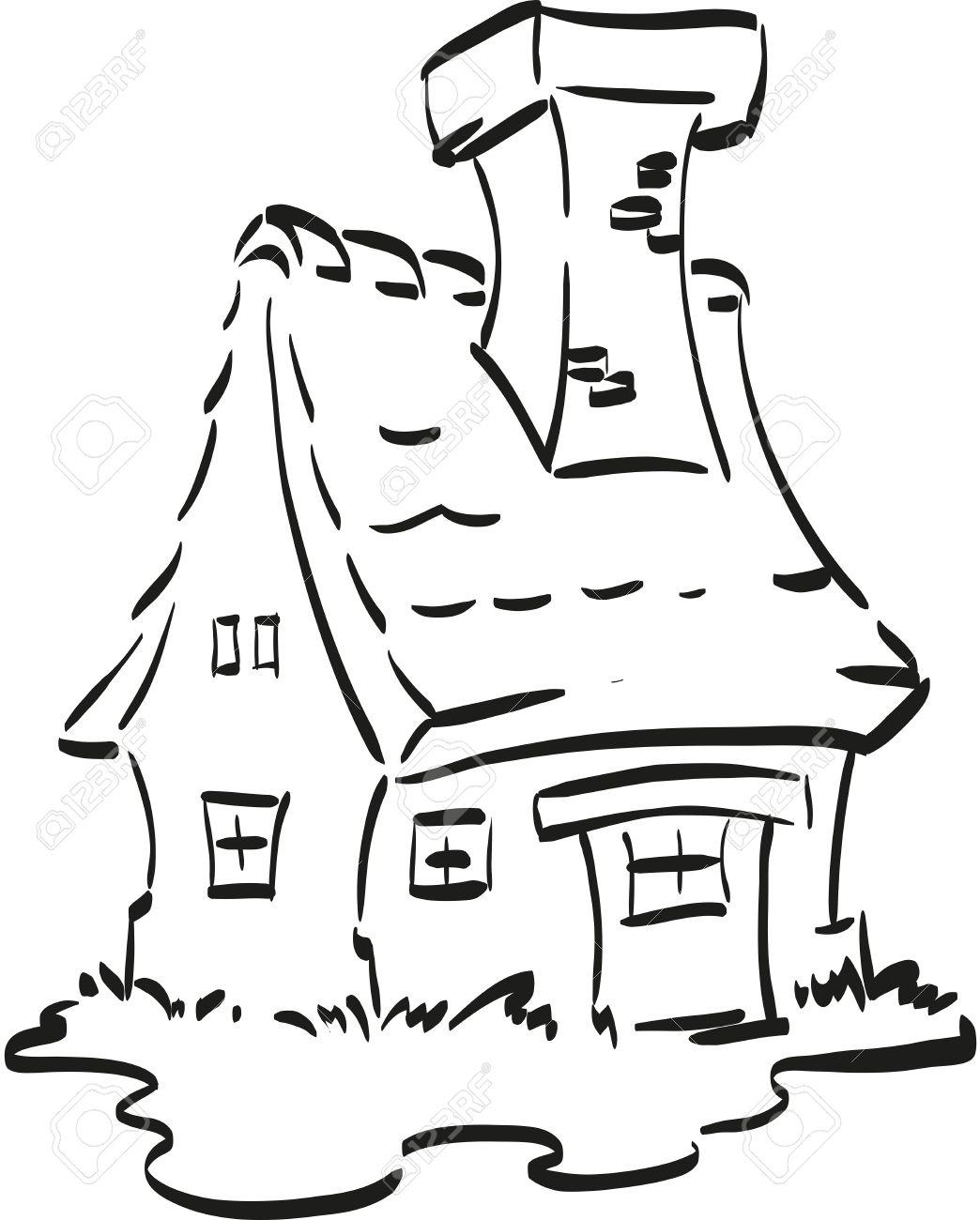 Dibujo Casa Para Colorear. Dibujo De Casa De Dos Pisos Con Torre ...