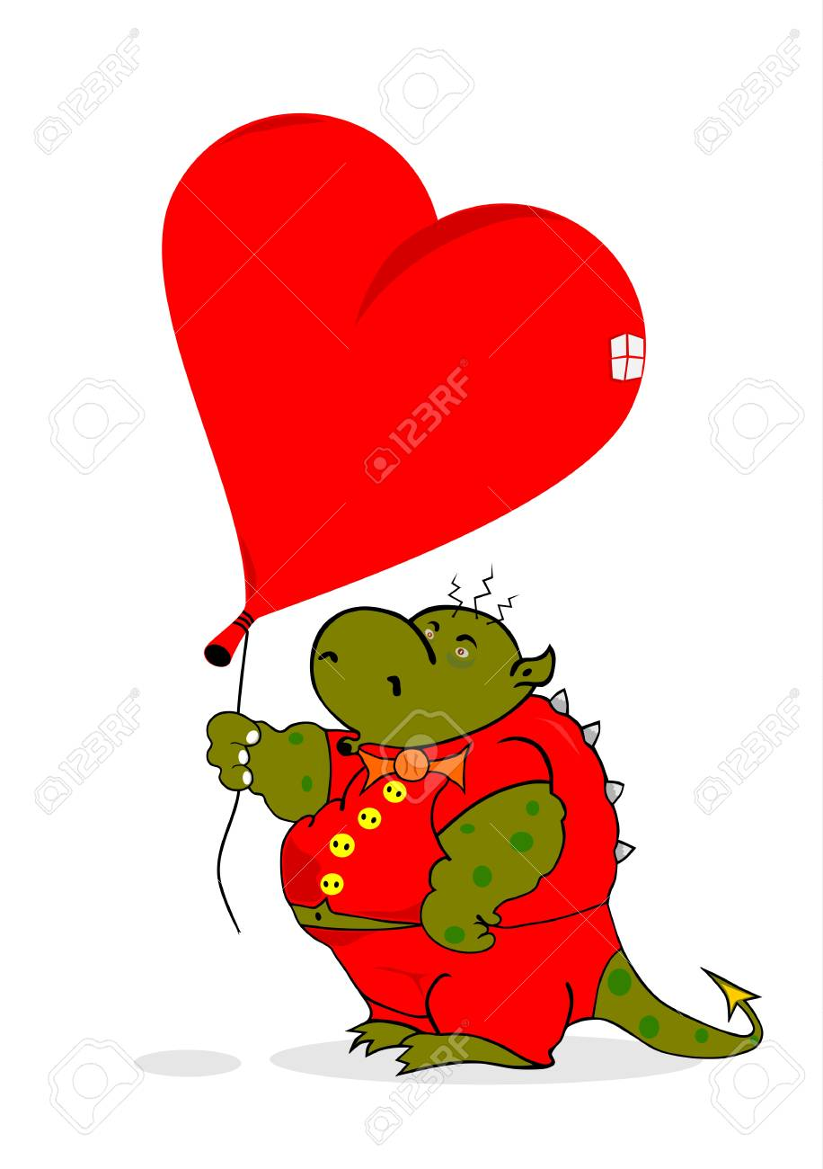 Dragon with a heart-shaped balloon  Without gradients Stock Vector - 17171500