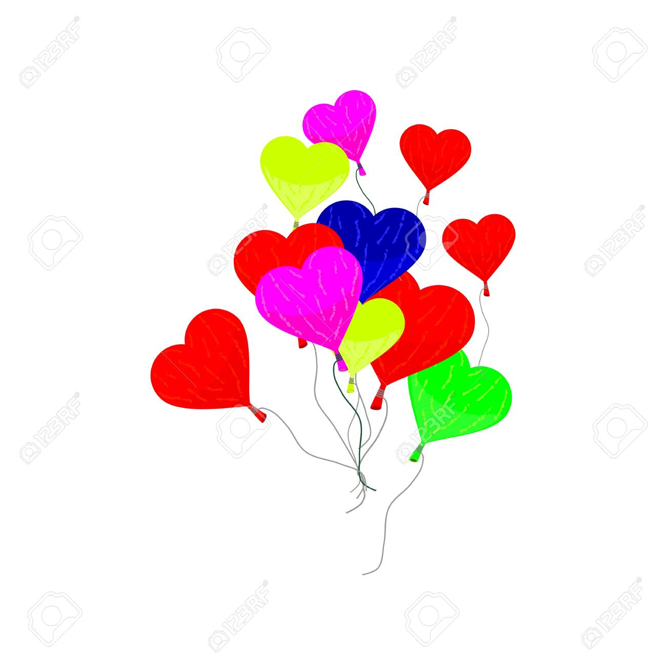 Colorful balloons in the shape of a heart on a white background Stock Vector - 17305342