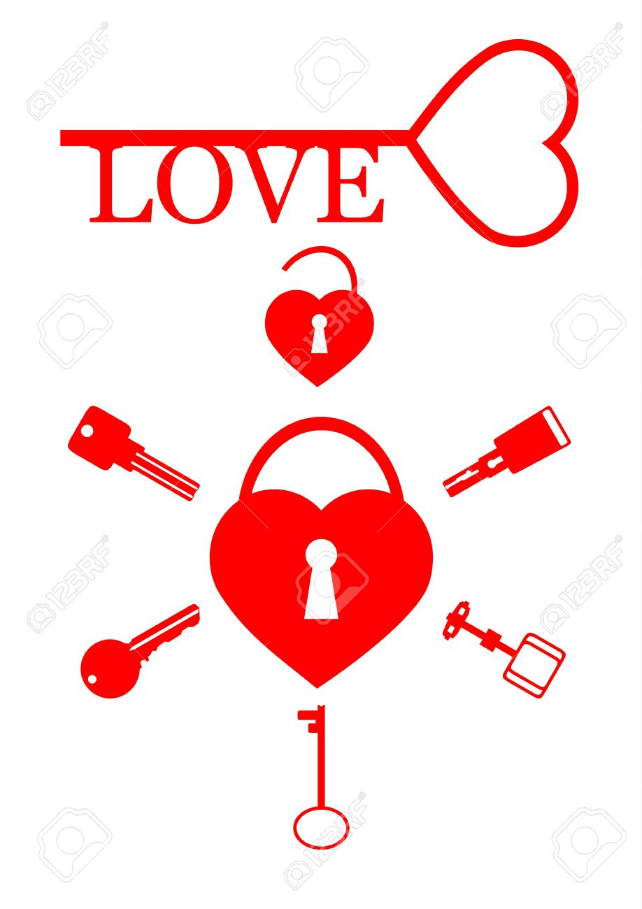 A set of keys and heart on a white background. Stock Vector - 17305338