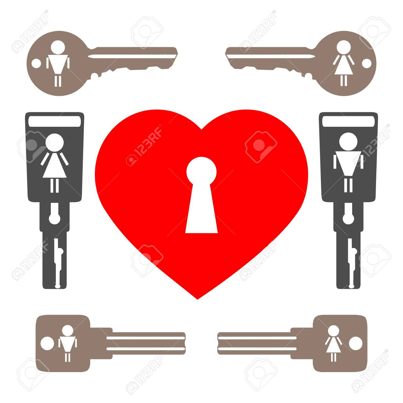 A set of keys and heart on a white background. Stock Vector - 17305336