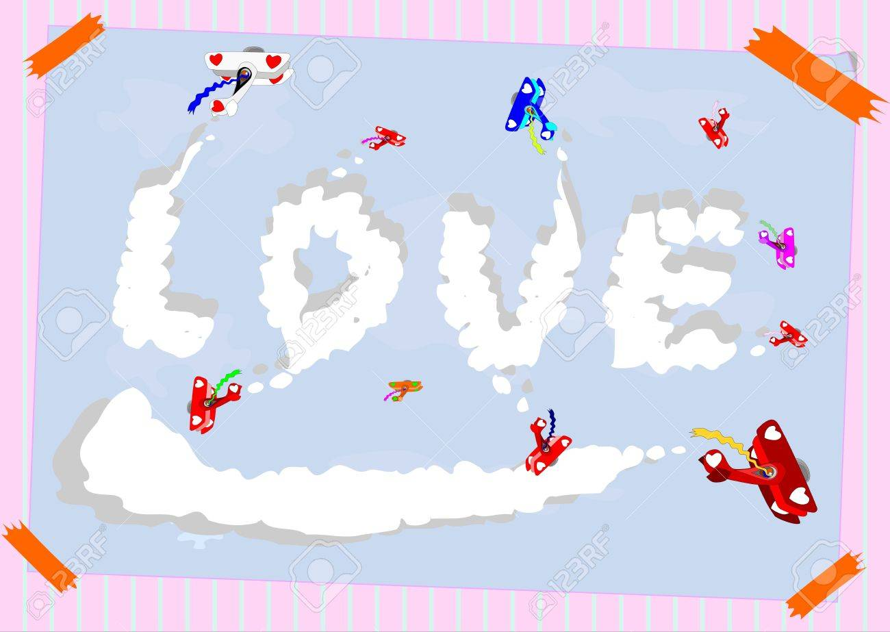 Retro aircraft in the formation of painting the word love in the sky. Colorful background with space for free text. without gradients. Stock Vector - 17469936