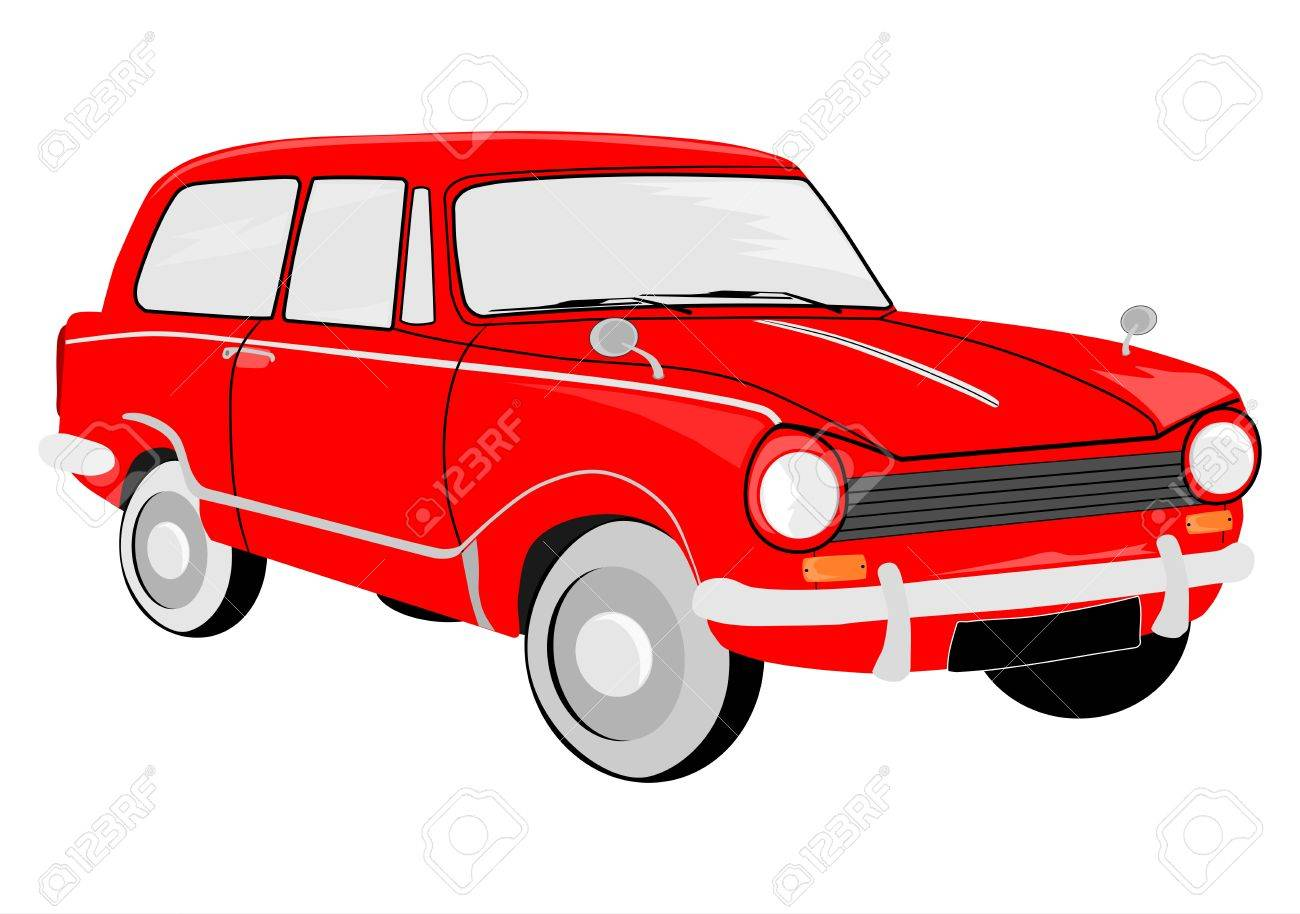 European small car from the sixties on a white background. Vector without gradients. Stock Vector - 17664957