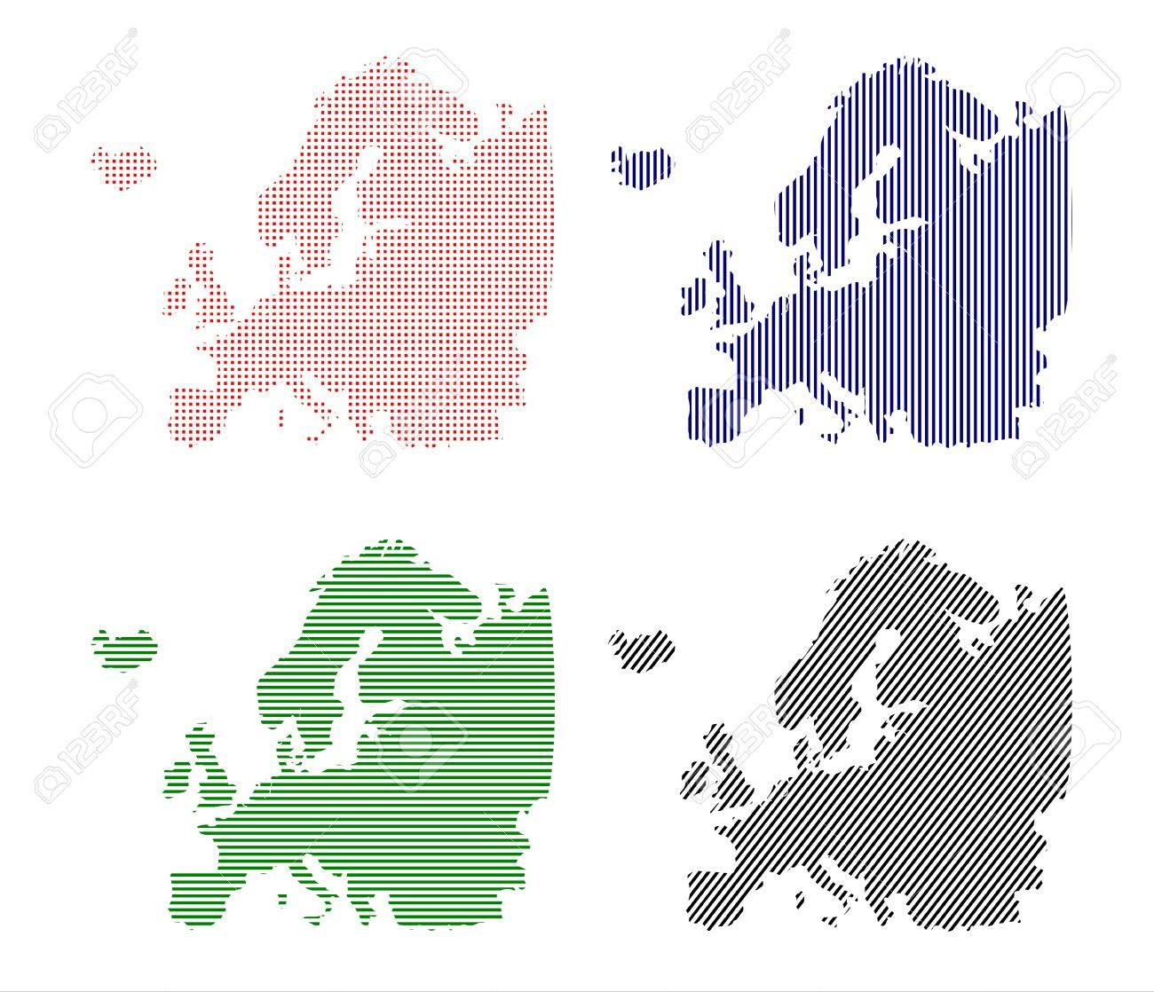 European continent made   8203;  8203;up of lines or dots in retro style pop art  Vector without gradients Stock Vector - 17664956