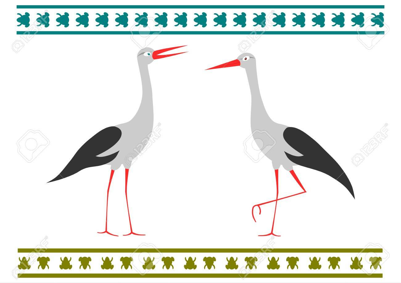 A pair of storks in a folk style on a white background. Stock Vector - 18544344
