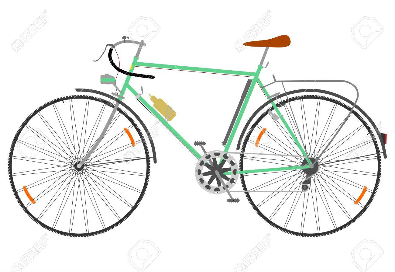 Side view of a retro road bike on a white background. Stock Vector - 18654519