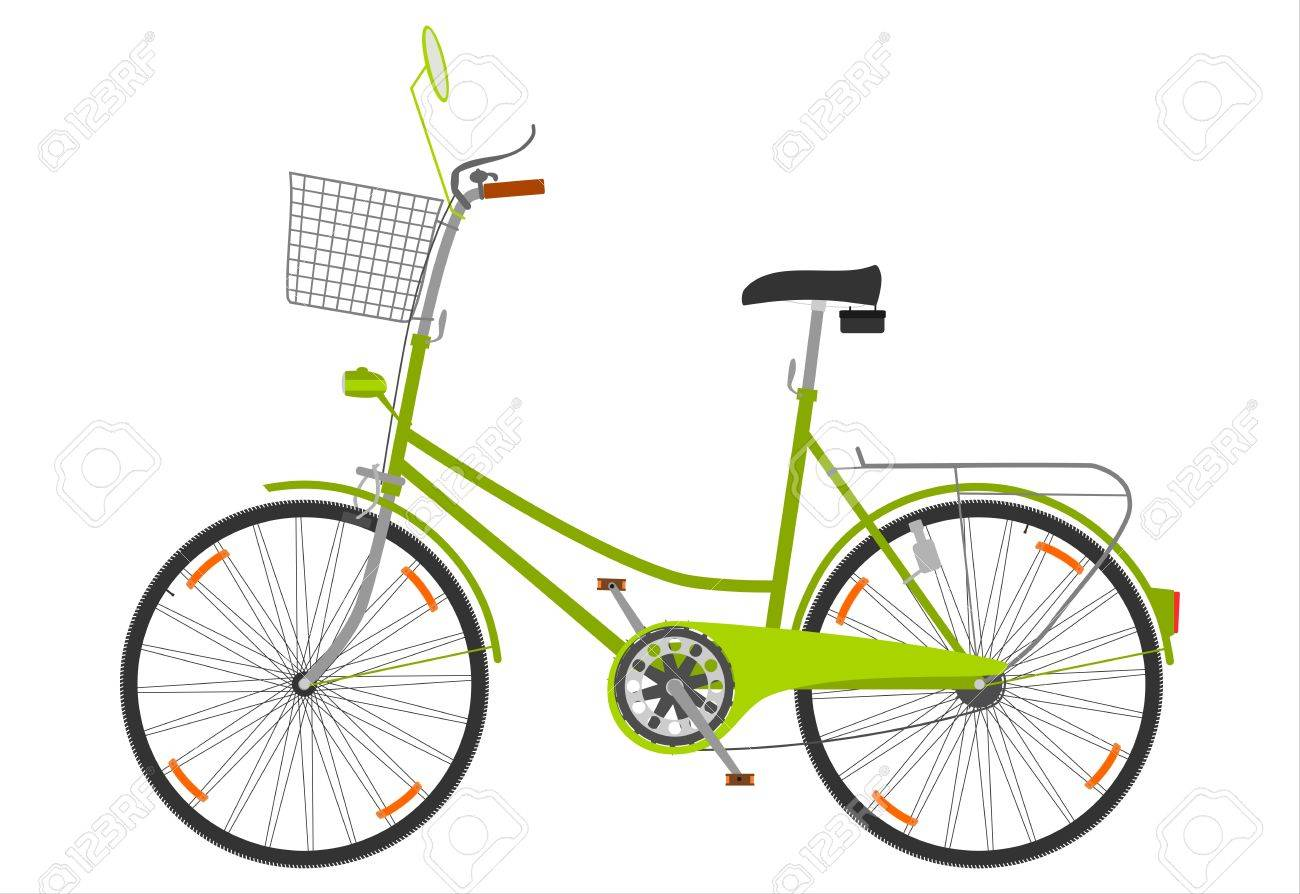 A bicycle with a basket on a white background. Stock Vector - 18654520