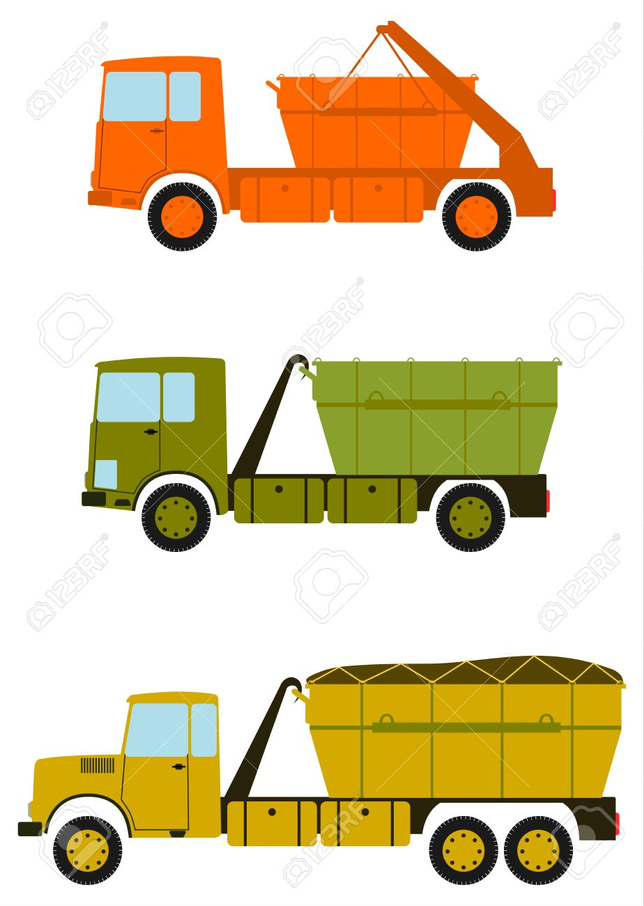 a set of construction trucks with containers for debris on the