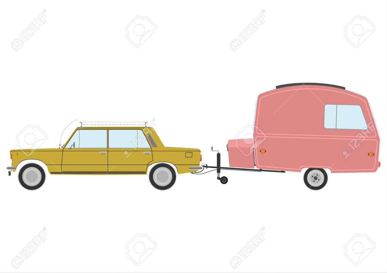 Retro car and caravan on a white background. Stock Vector - 19354346