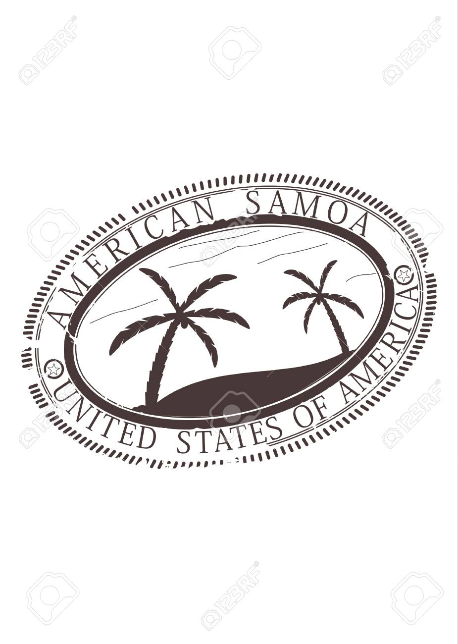 American Samoa in the United States. Rubber stamp in one color. Stock Vector - 19495994
