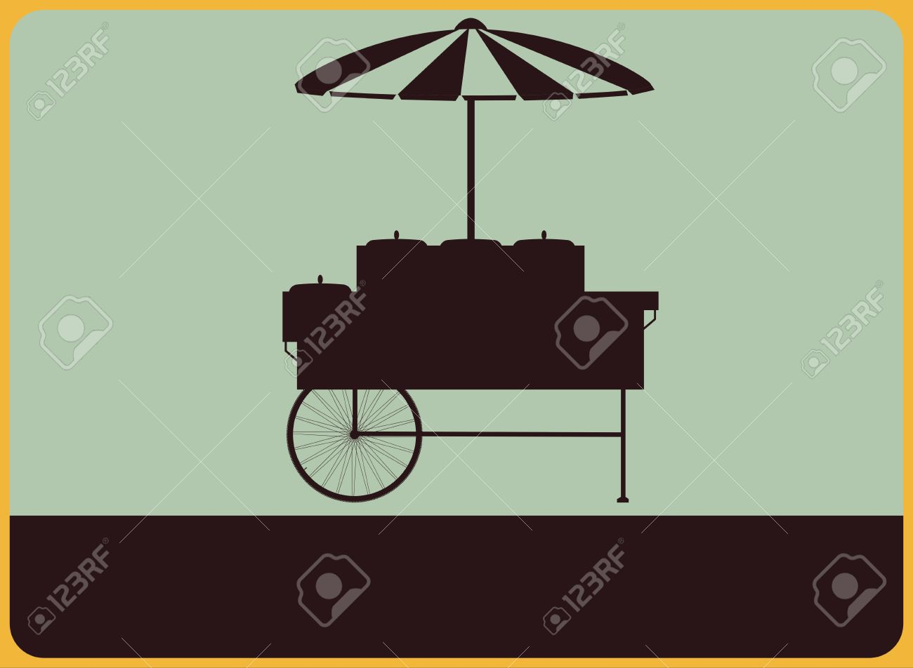 Vintage street sign with the silhouette of the vendors cart Stock Vector - 19810508