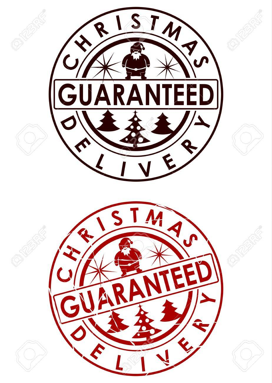 Christmas Delivery Guaranteed Stamp Royalty Free Cliparts, Vectors ...