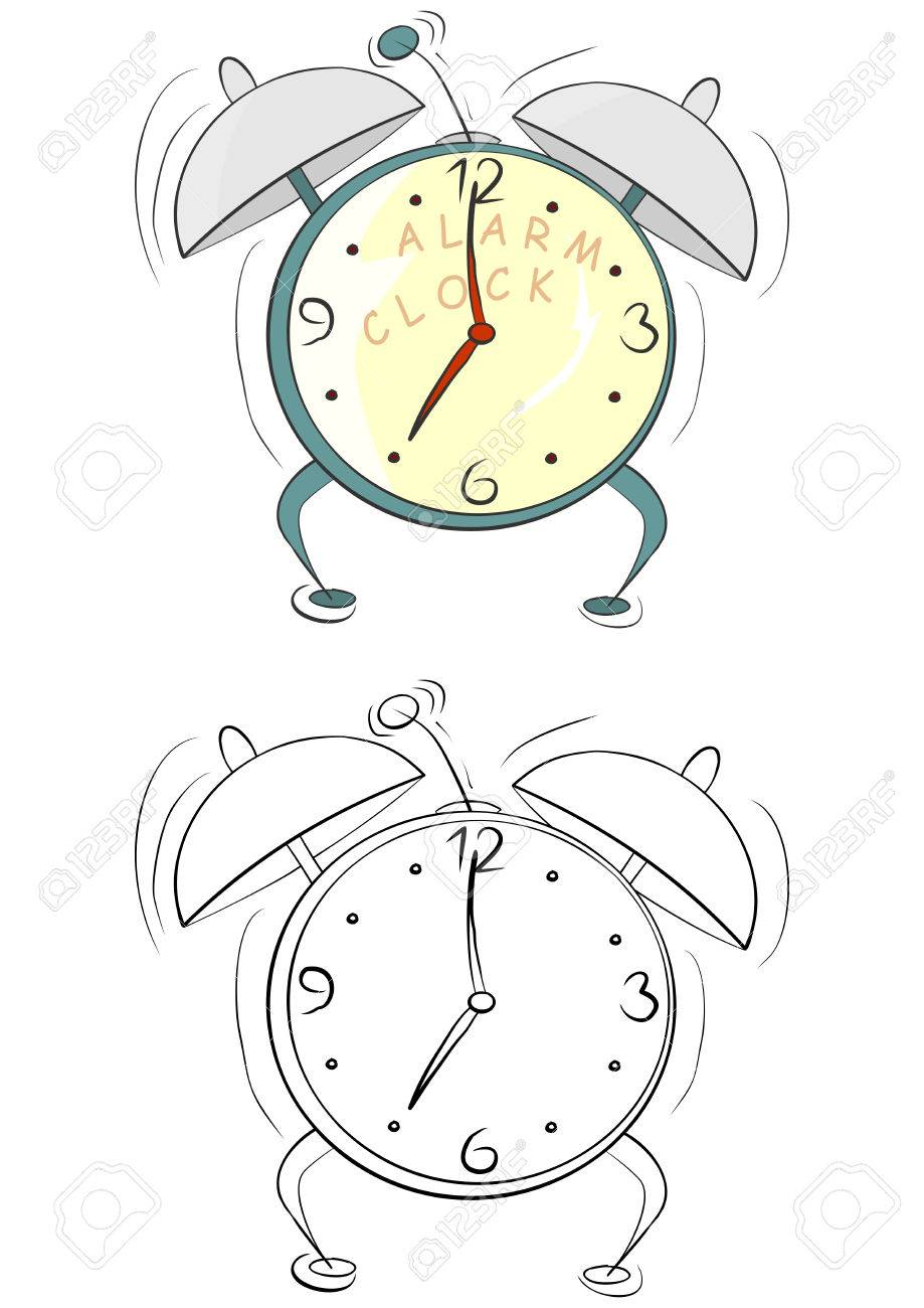 Coloring Page With Cartoon Alarm Clock On A White Background Stock Vector