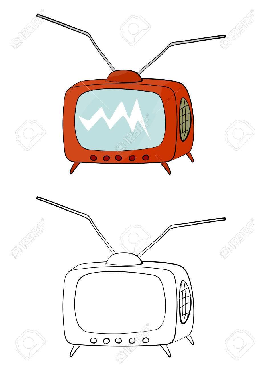 Página Para Colorear Con Un Televisor Viejo Sobre Un Fondo Blanco ...
