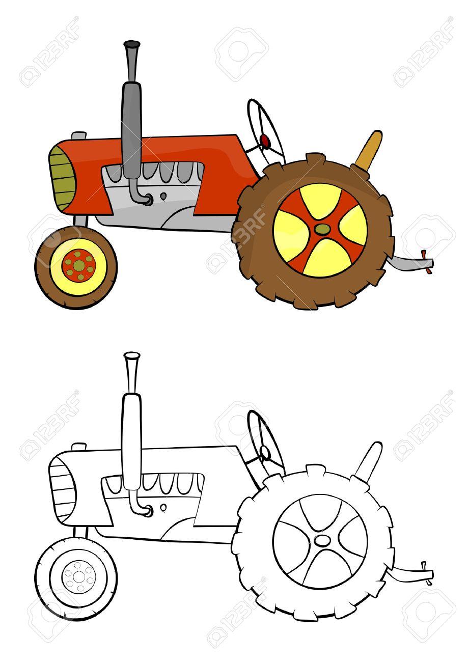 Página Para Colorear Con Un Tractor De Dibujos Animados Sobre Un ...