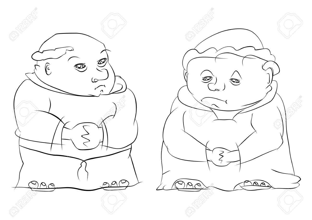 Dibujo Para Colorear De Dos Monjes Católicos Ilustraciones ...
