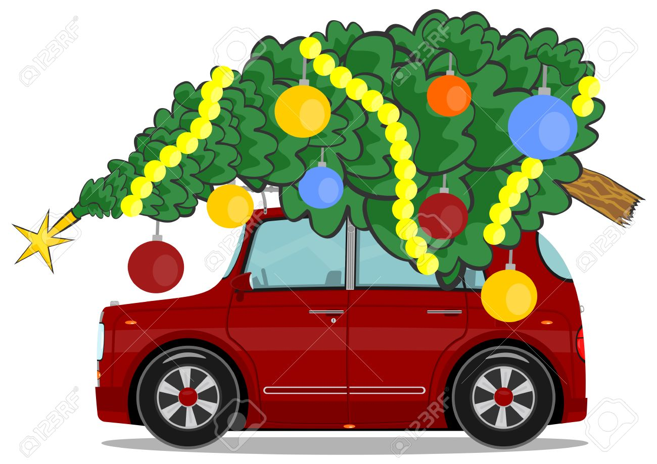 Cartoon Car With A Christmas Tree On The Roof Vector Royalty Free  - Christmas Tree On Car