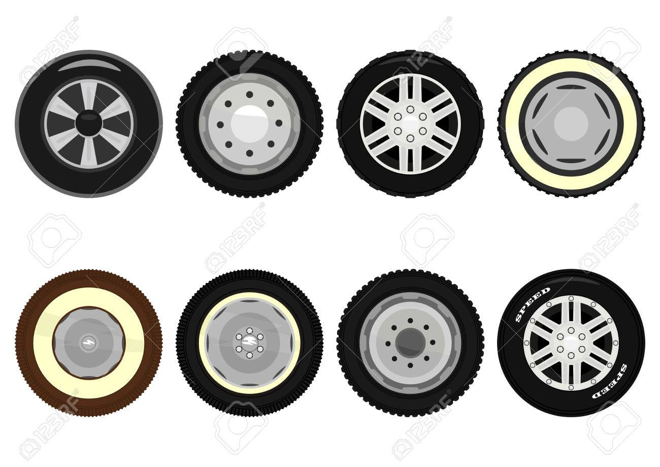 Set Of Cartoon Car Wheels On A White Background Vector Royalty Free Cliparts Vectors And Stock Illustration Image 30829678