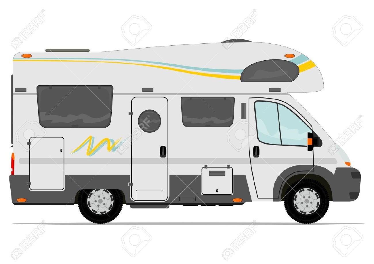 Modern Camper Van Vector Without The Gradient In A Single Layer Stock