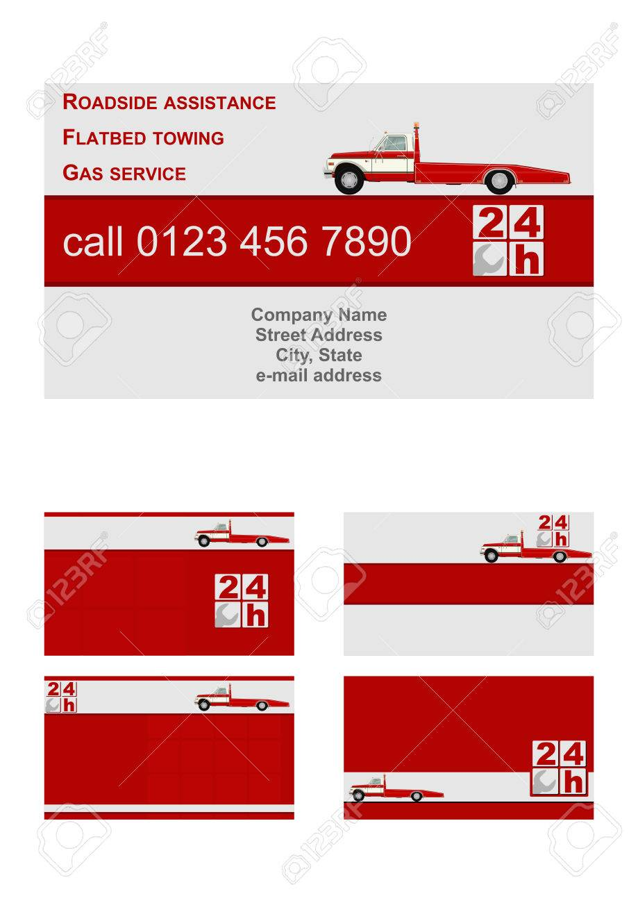 Business Card Vector Template Flat. Roadside Assistance And Towing ...