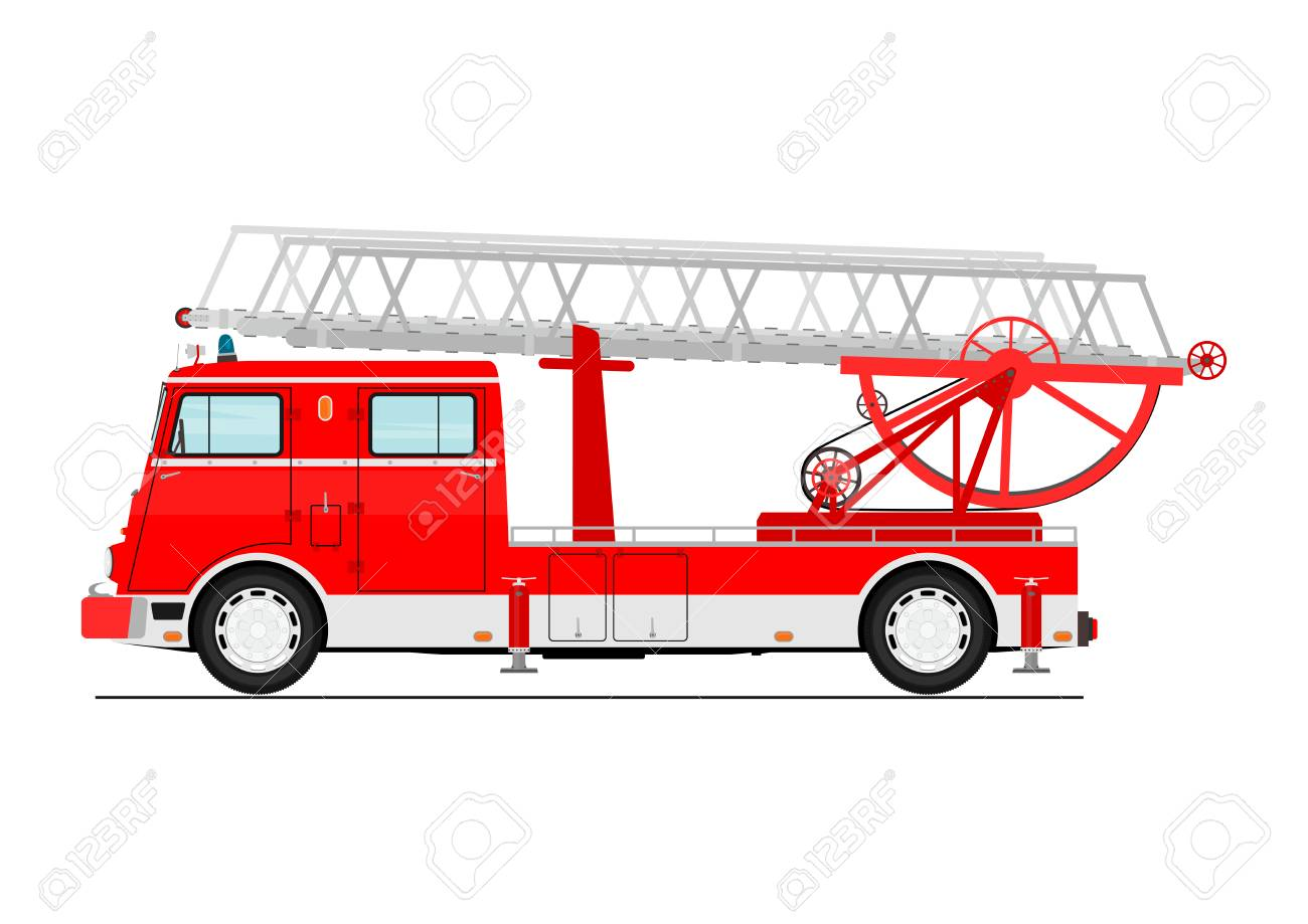 Camion De Pompier Classique De Dessin Animé Vue De Côté Vecteur Plat