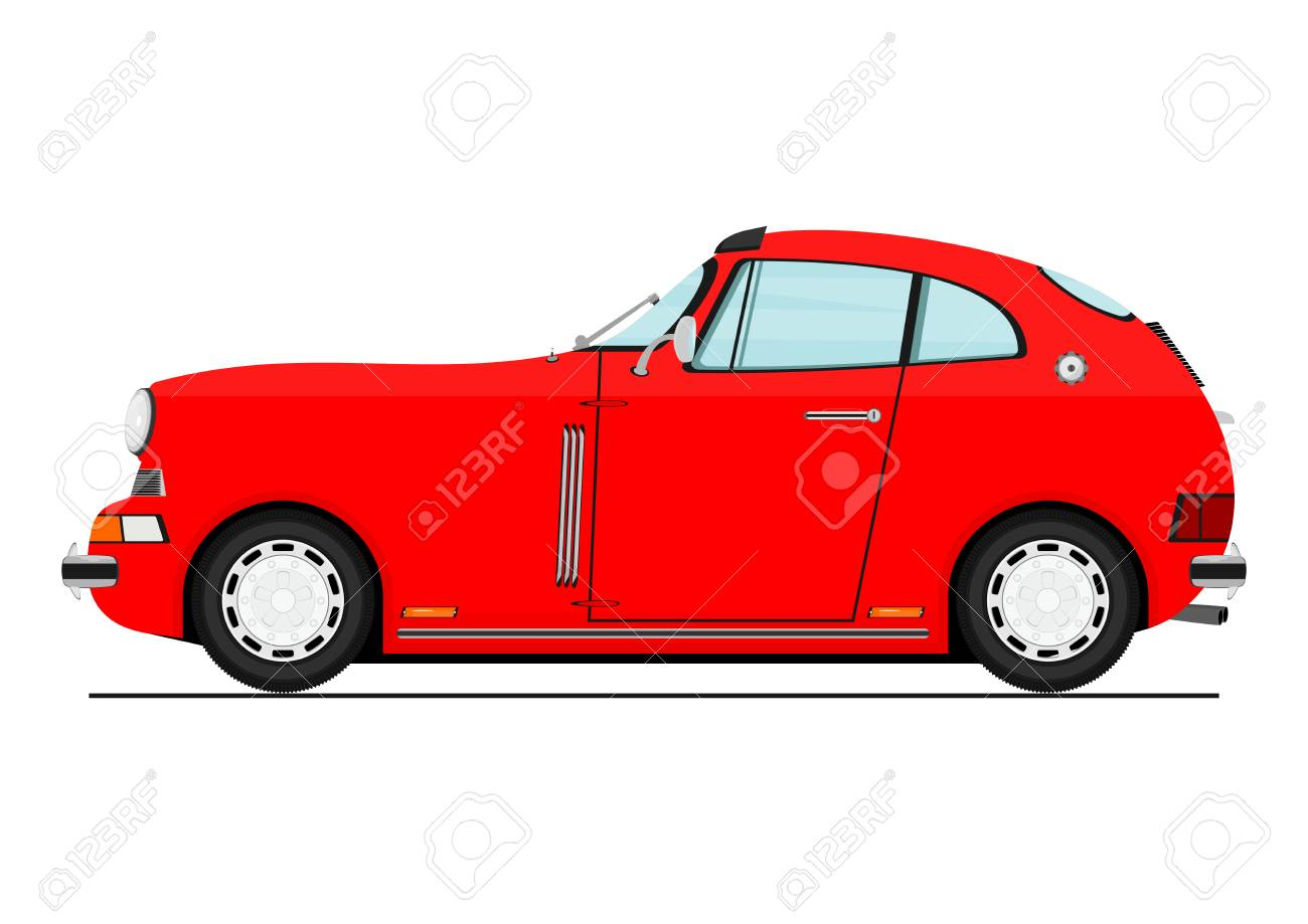 Cartoon Red Sports Car Side View Flat Vector Royalty Free