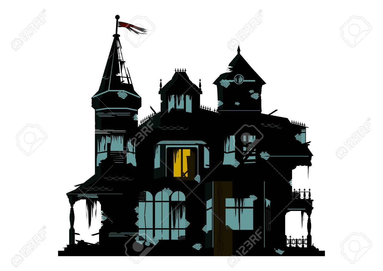 A silhouette of a spooky house on a white background. Flat vector. - 102842578