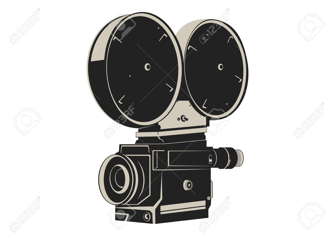 Camera Vintage Vector Free : Vintage movie camera in two colors. flat vector. royalty free