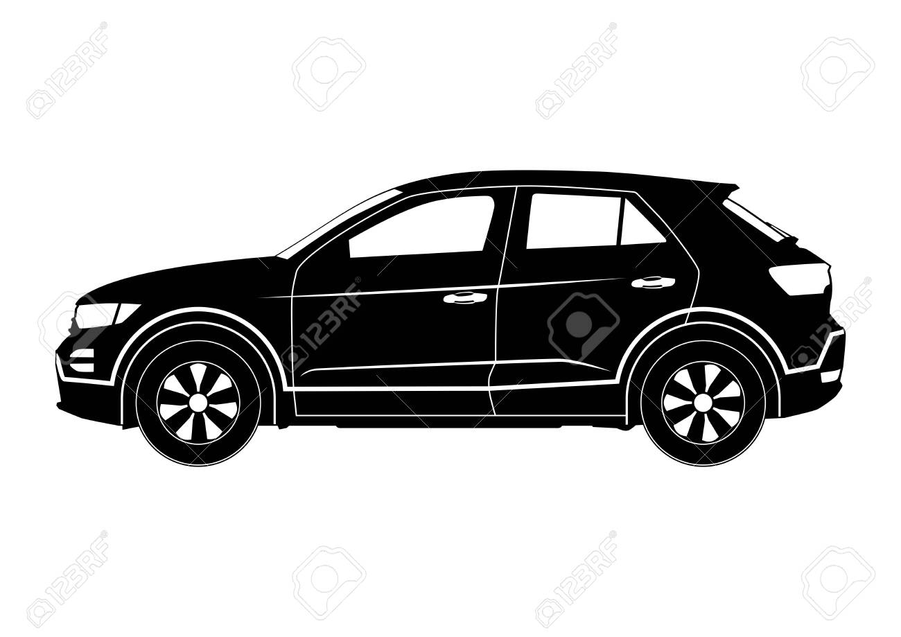 Crossover Silhouette Modern Compact Suv Car Side View Flat Royalty Free Cliparts Vectors And Stock Illustration Image 134175308