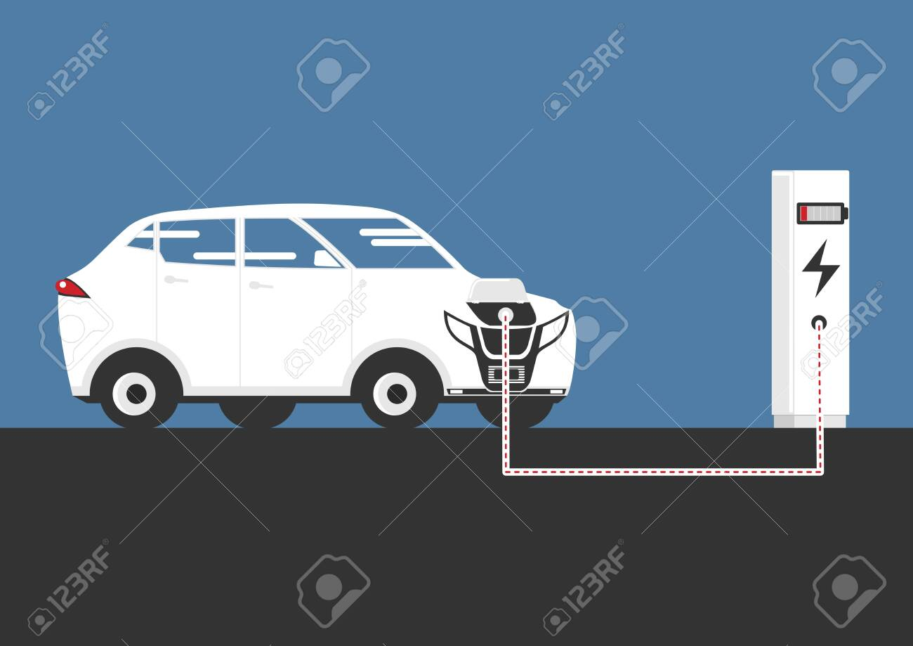 A simplified illustration of an electric car charging at a charging station. Side view. Flat vector. - 146384988