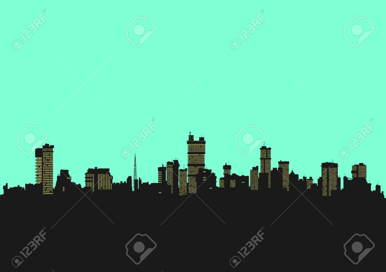 Cityscape. Background in bright colors with the silhouette of the modern city. Flat vector. - 146385006