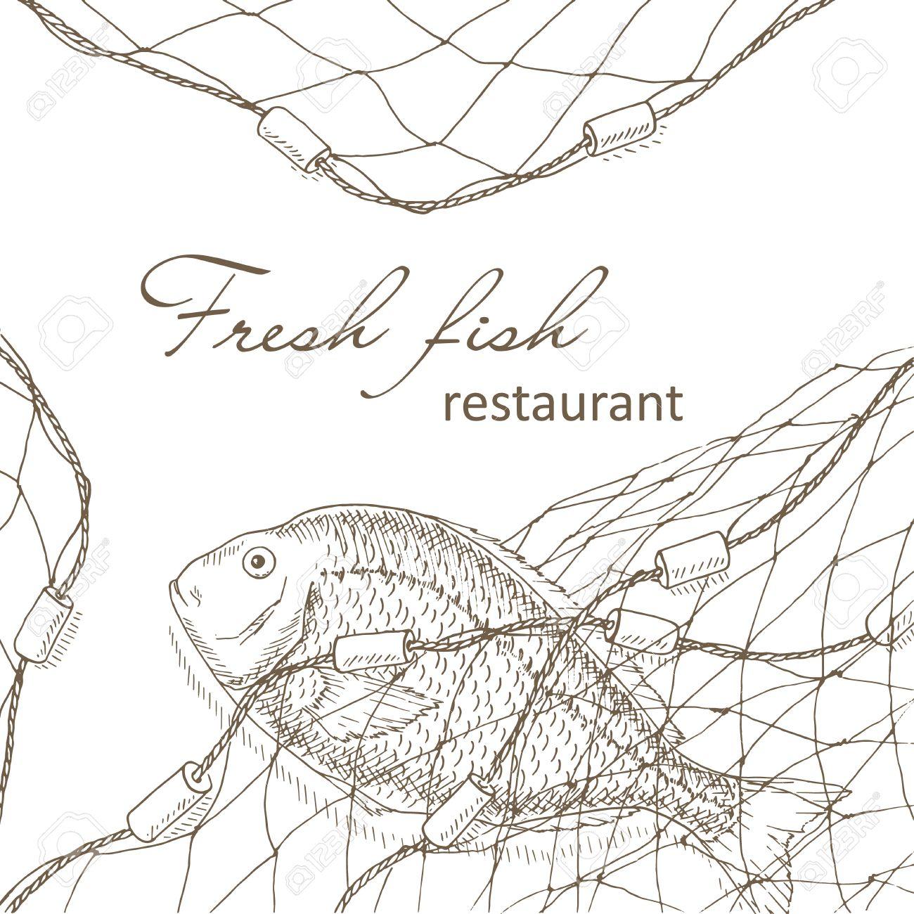 Los Peces Capturados En La Red. Peces Y La Pesca Fondo Neto. Menú ...