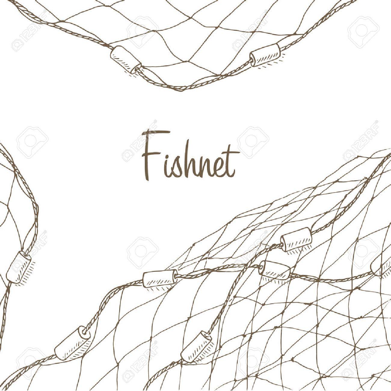 Fishing net background. Fish net flyer. Fishnet template. Fishing net hand drawn vector illustrations. Fish net card. Fishery frame with net. Net for fishing frame - 52163236