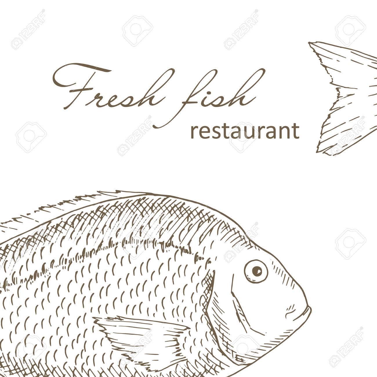 Fisch Hintergrund Big Fisch Restaurant Menu Cover Design Angeln