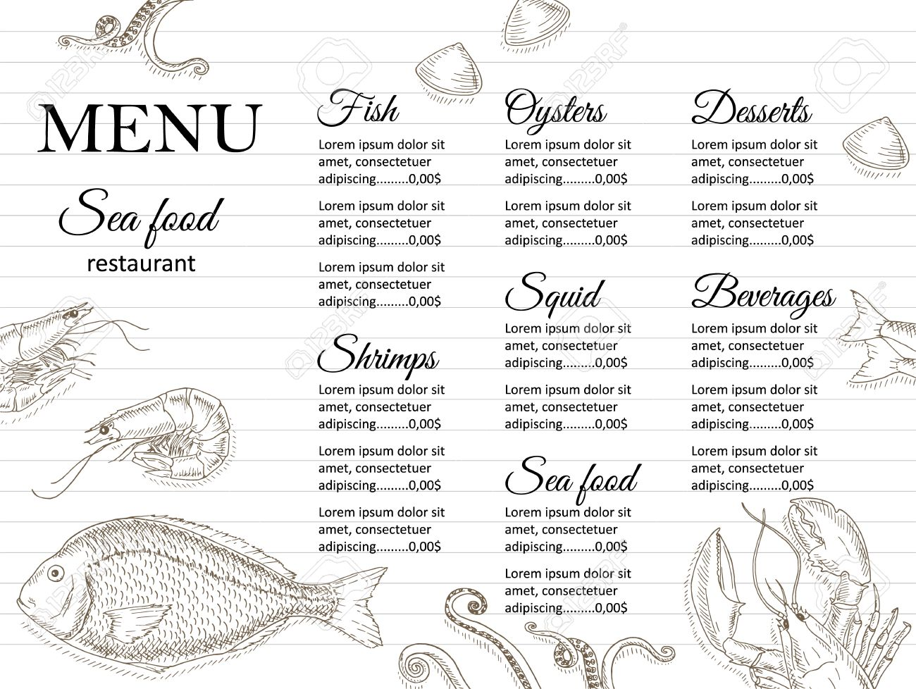 restaurant menu design cafe menu cover seafood menu flyer