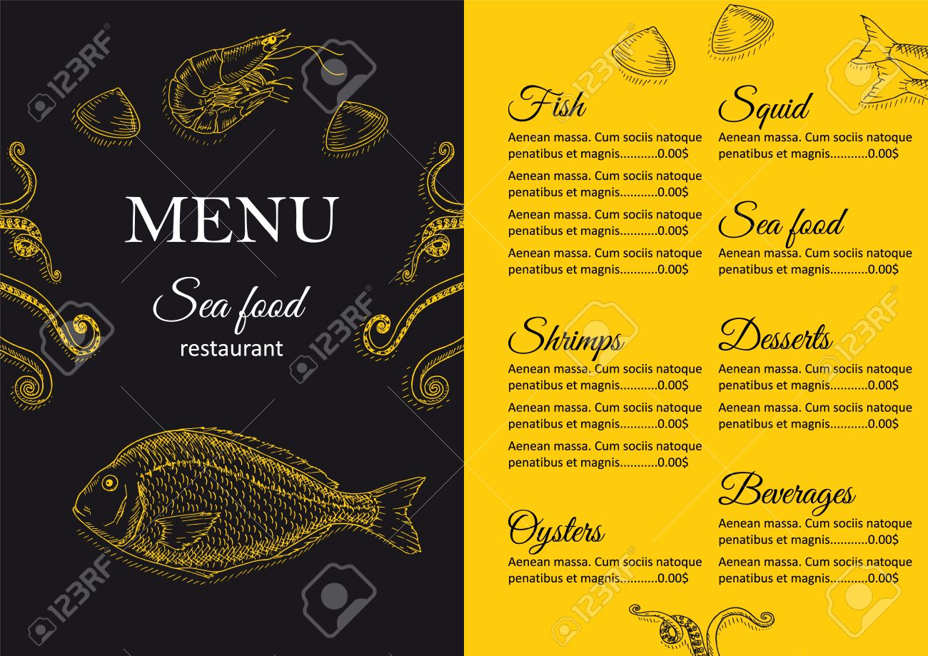 Restaurant Menu Design Cafe Menu Cover Seafood Menu Flyer Royalty Free Cliparts Vectors And Stock Illustration Image 52170311