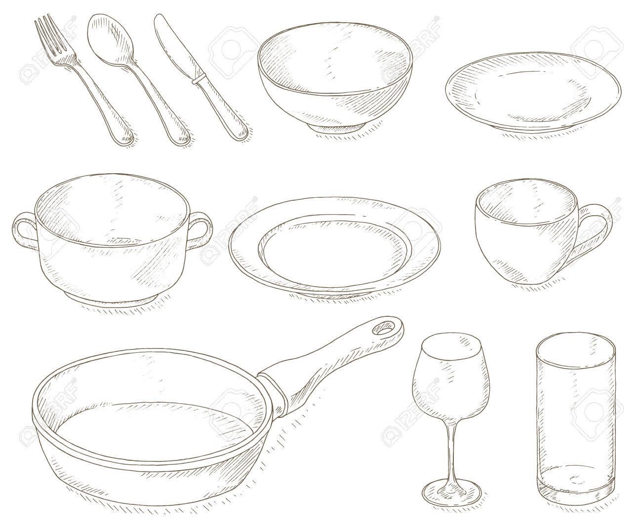 Empty dishes set. Kitchen utensil sketch. Dinnerware: plates,..