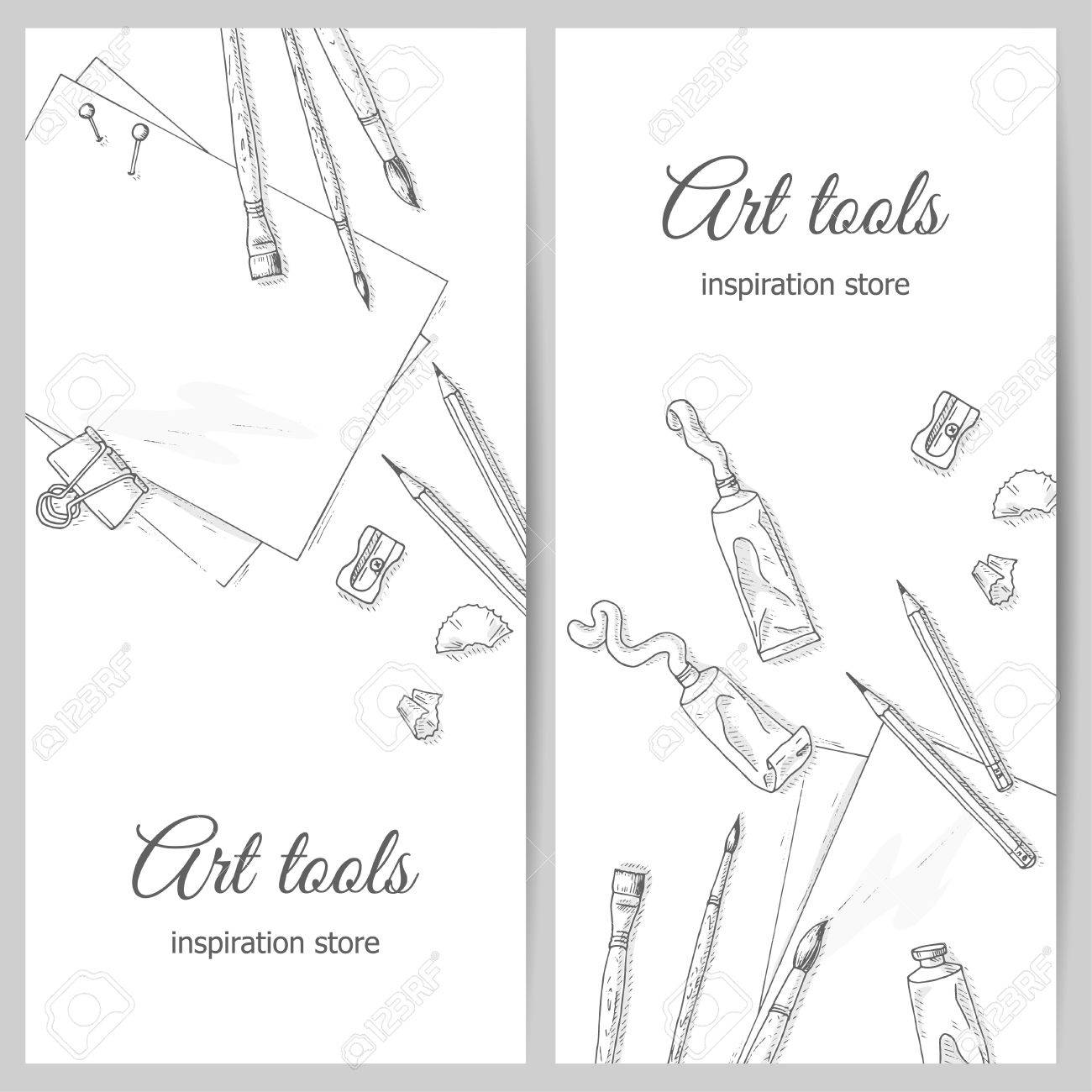 Art tools flyer artist creative quipment sketch brushes paper sheet pencil and