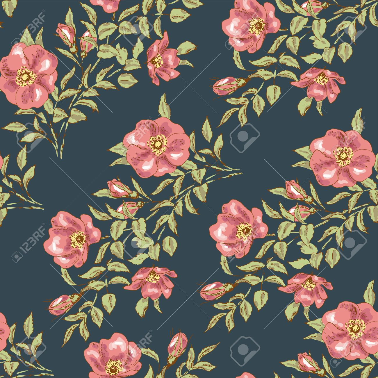 dog rose seamless pattern flower wallpaper vintage design with