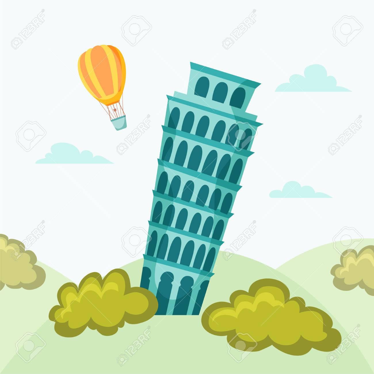 Leaning tower of Pisa. Pisa landmark. Travel flat illustration. Rome famous buildings background. Cityscape with Leaning tower of Pisa. - 52415046