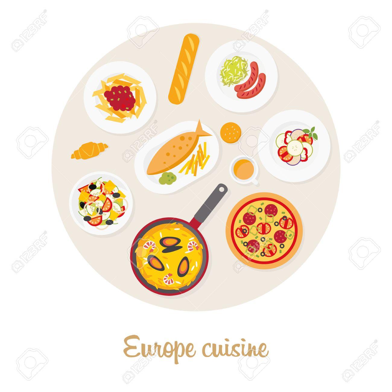 Europaische Kuche Europaische Lebensmittel Satz Italienisch