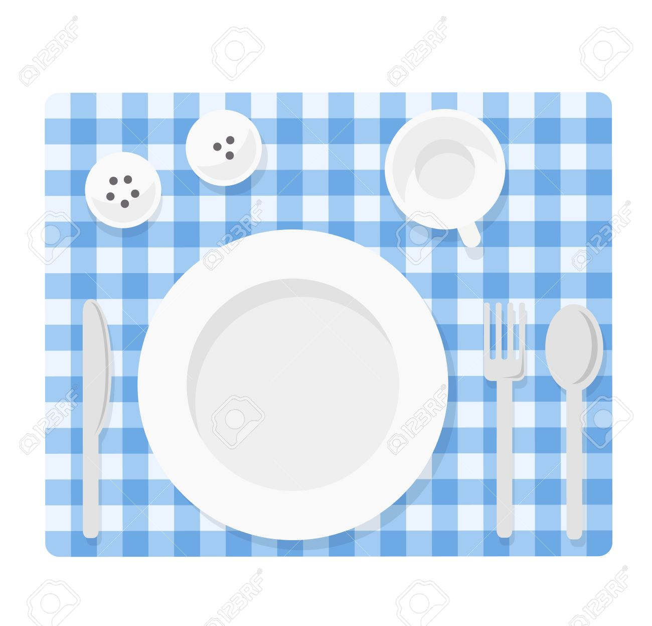 Tableware. Empty Plate With Knife, Spoon, Fork, Cup, Salt And ...
